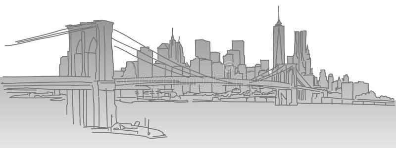 ny horisont york för stad royaltyfri illustrationer