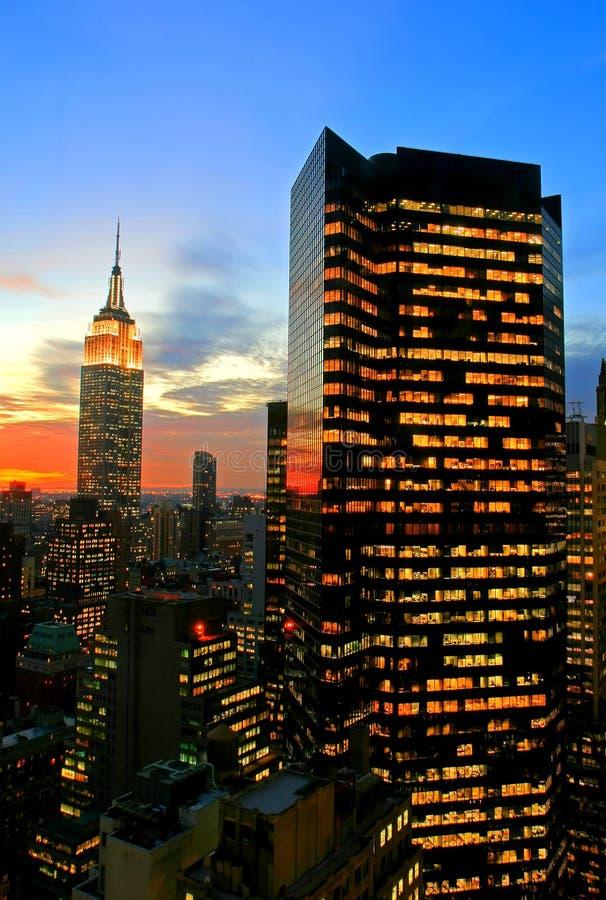 ny horisont york för stadsmidtown arkivbild