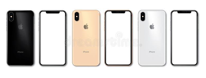 Ny iPhone Xs i 3 färger royaltyfri illustrationer