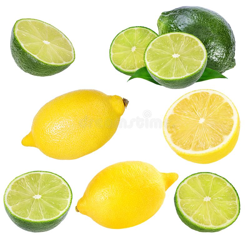 Ny isolerade citron och limefrukt royaltyfri foto