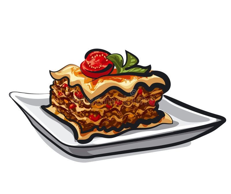 Bakad lasagna royaltyfri illustrationer