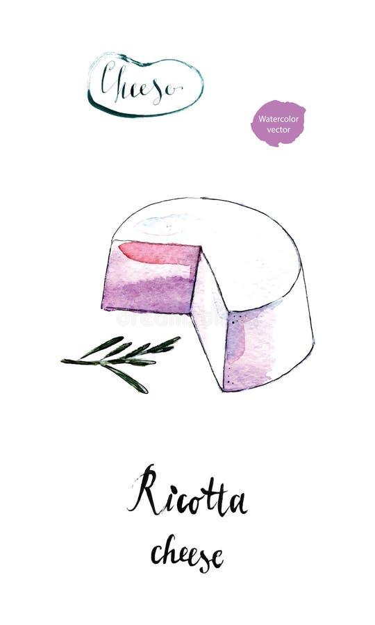 Ny italiensk ricottaost med fattar av rosmarin i vattenfärg stock illustrationer