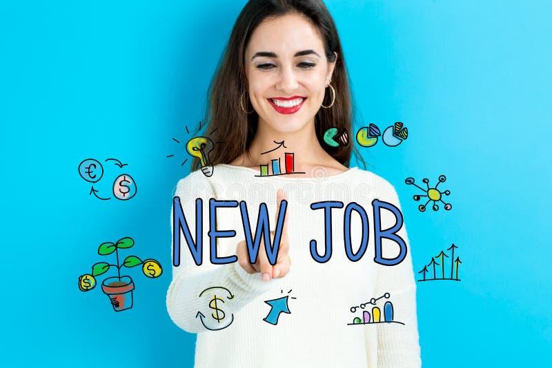 Ny jobbtext med den unga kvinnan royaltyfri bild