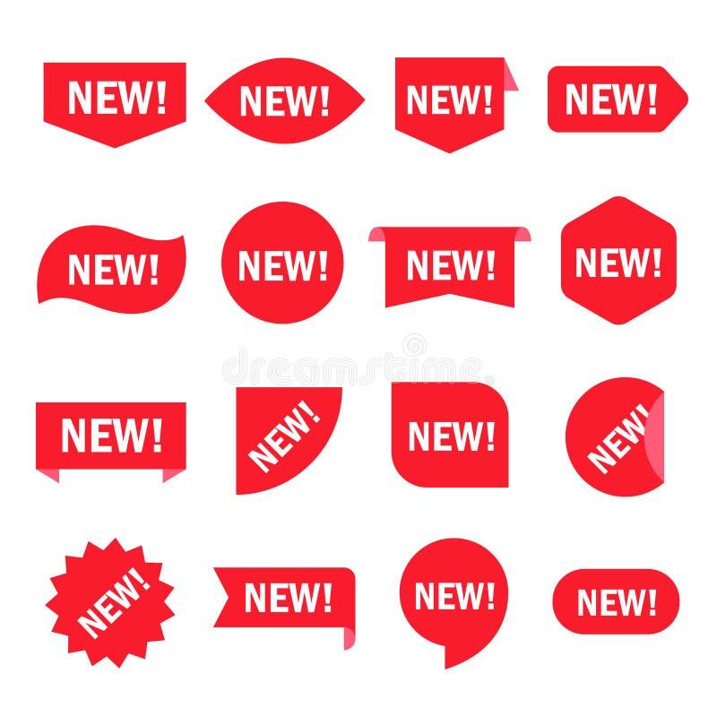 Ny klistermärkeuppsättning royaltyfri illustrationer