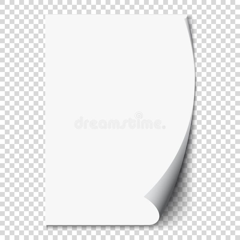 Ny krullning för vit sida på papper för tomt ark Realistisk tom vikt sida Genomskinlig designklistermärke vektor stock illustrationer