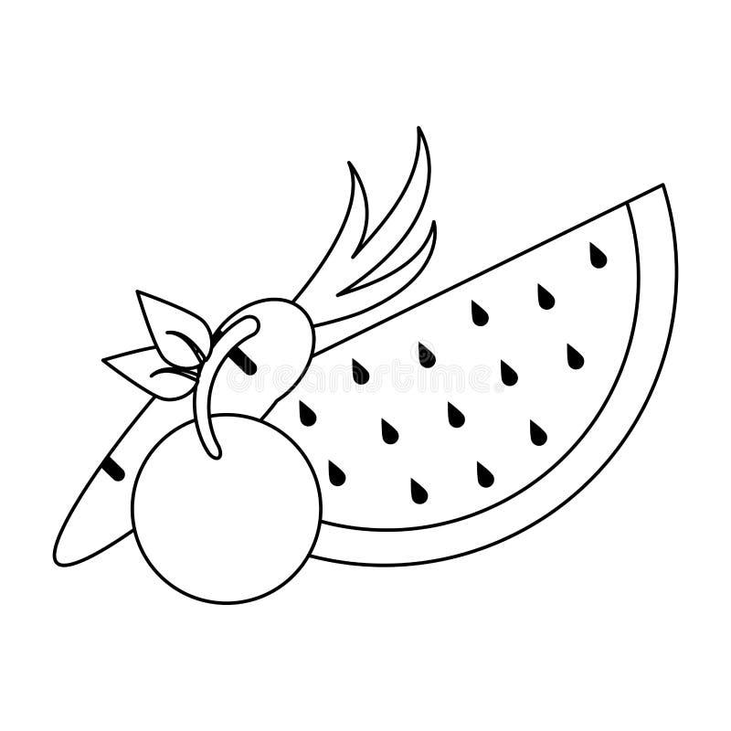 Ny läcker sund tecknad film för frukter i svartvitt stock illustrationer