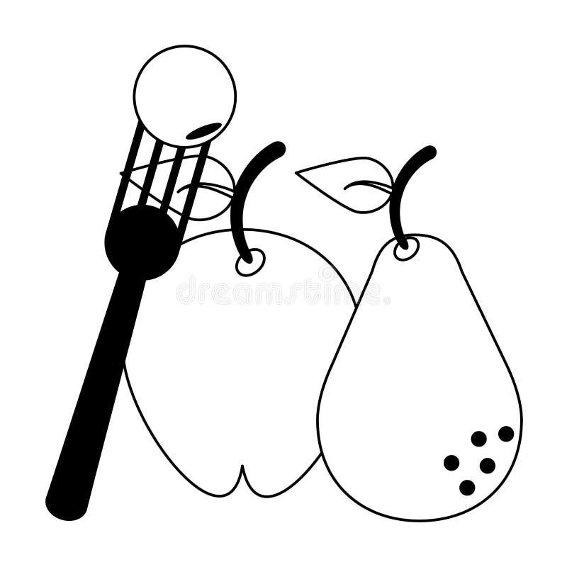 Ny läcker sund tecknad film för frukter i svartvitt royaltyfri illustrationer