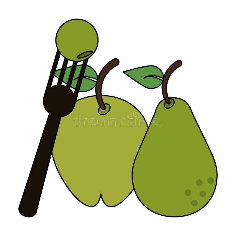 Ny läcker sund tecknad film för frukter stock illustrationer