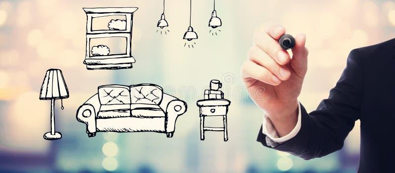 Ny lägenhetdröm med affärsmannen arkivfoton
