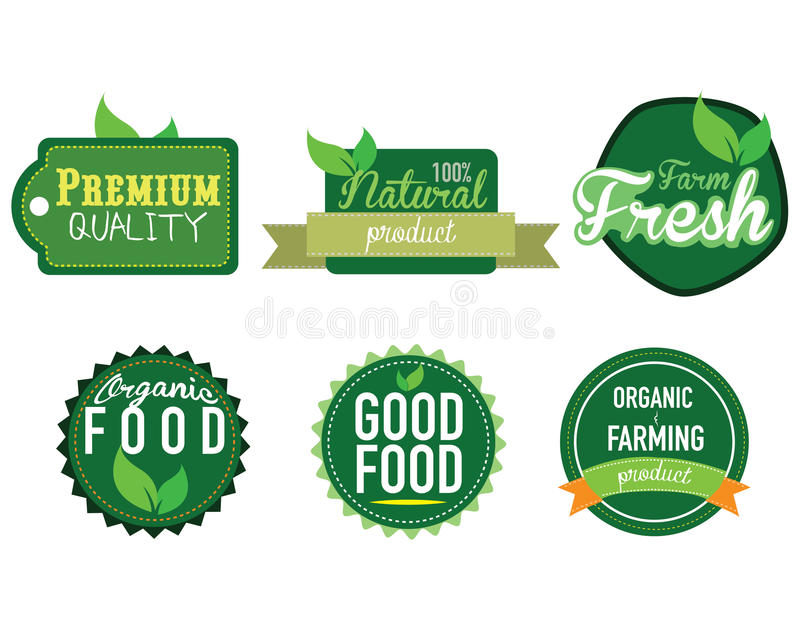 Ny lantgård, etikett för organisk mat arkivbilder