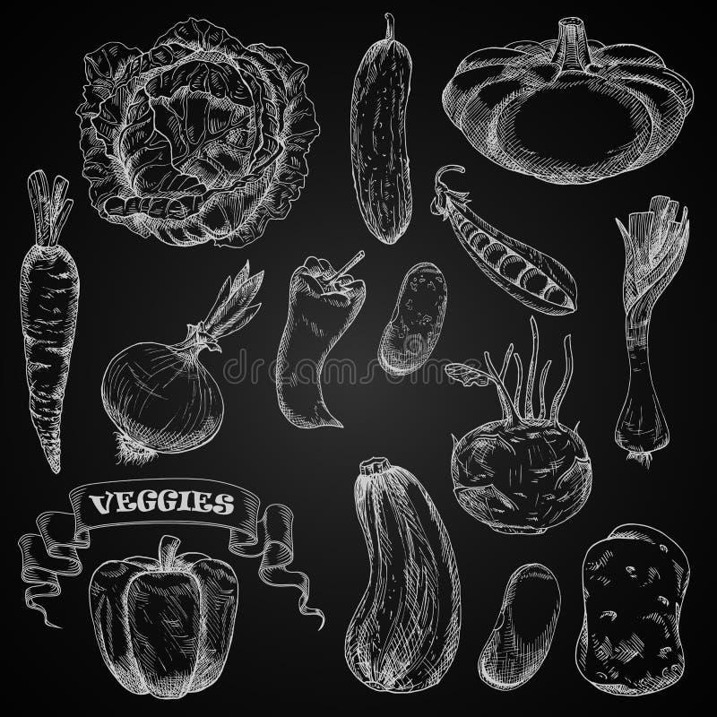 Ny lantgårdgrönsakkrita skissar uppsättningen royaltyfri illustrationer