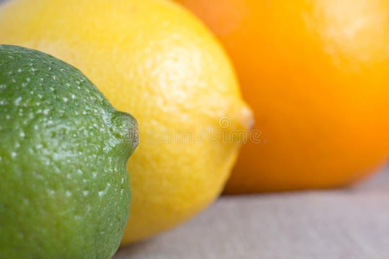 Ny limefrukt, citron och apelsin apelsiner för citrusfruktcitronlimefrukter royaltyfri fotografi