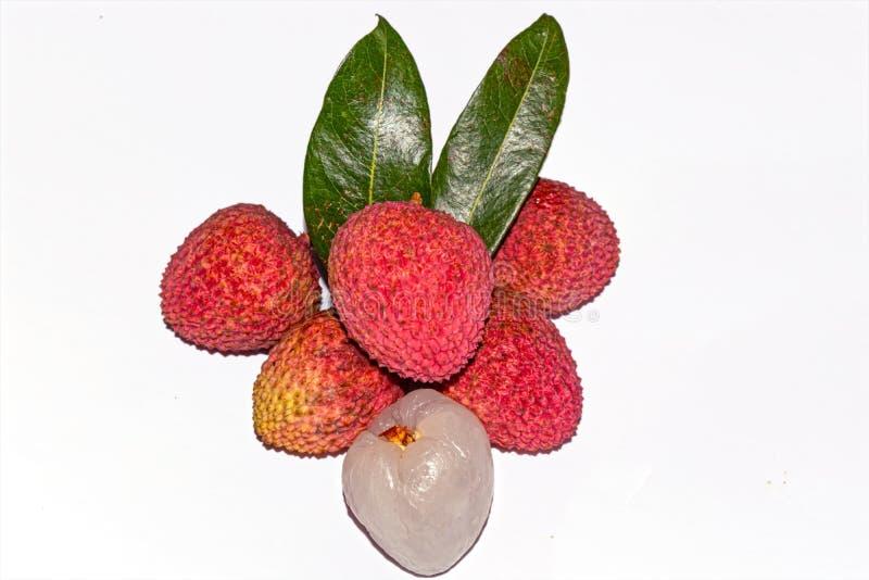 Ny litchiplommonfrukt Skalad och unpeeled litchiplommonfrukt på vit bakgrund med gröna sidor royaltyfri fotografi
