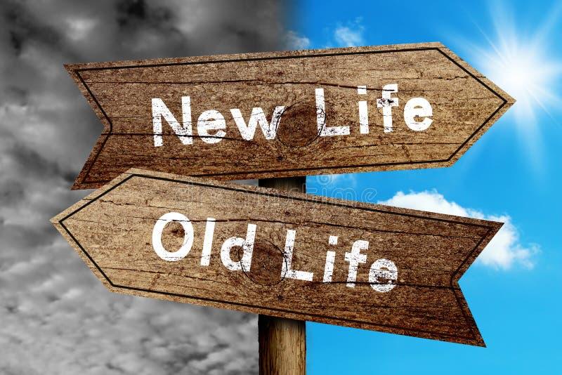 Ny livstid eller gammal livstid stock illustrationer