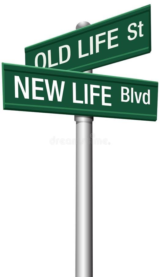Ny livstid eller gammala ändringsgatatecken stock illustrationer