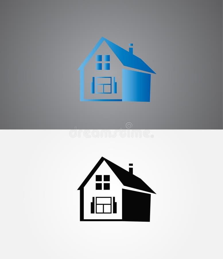 ny logo r Fastighet hus, hem- logodesign reng?ringsduk f?r jordklotlogovektor royaltyfri illustrationer