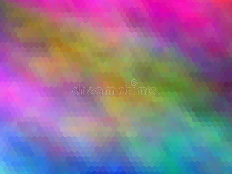 Ny lyxig bakgrund Flerfärgat sexhörnigt pixeled stock illustrationer