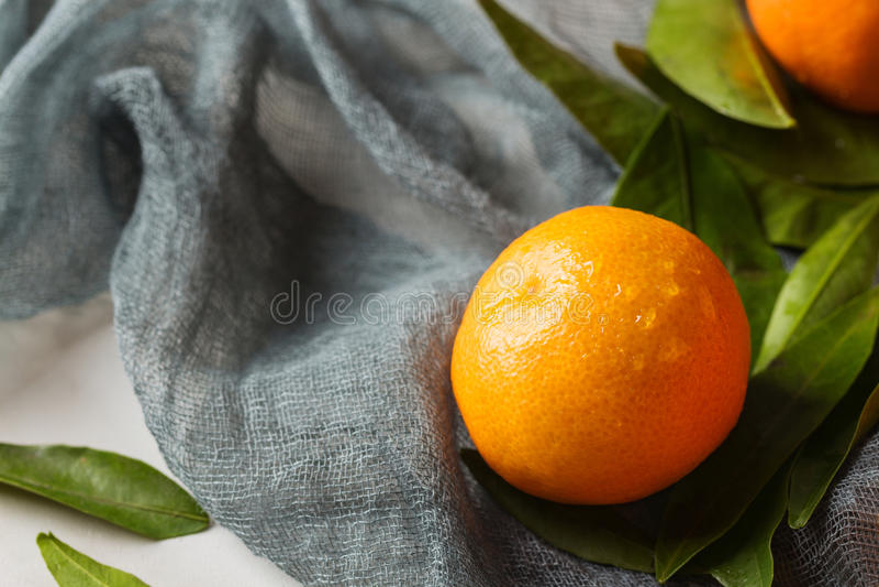 Ny mandarinfrukt med sidor arkivfoton