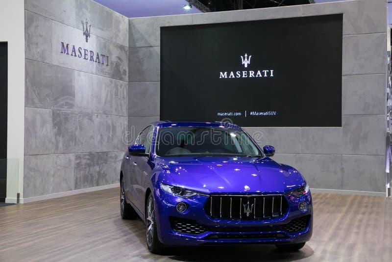 Ny Maserati suv på skärm i Bangkok den internationella motoriska showen 2017 arkivbilder