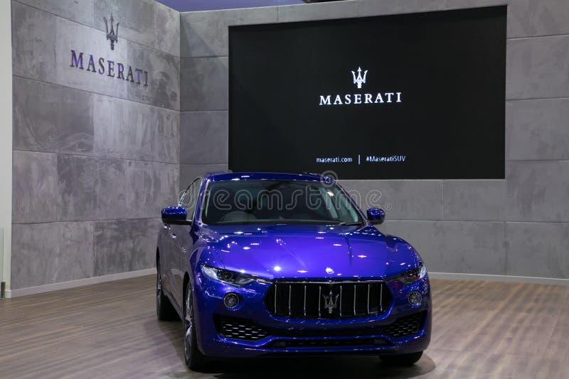Ny Maserati suv på skärm i Bangkok den internationella motoriska showen 2017 royaltyfri foto