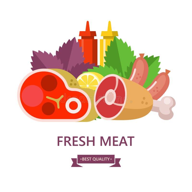 Ny Meat också vektor för coreldrawillustration Stilleben av den olika typnollan stock illustrationer