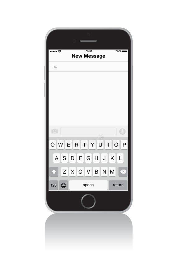 Ny meddelandeskärm för iPhone 6 royaltyfri illustrationer
