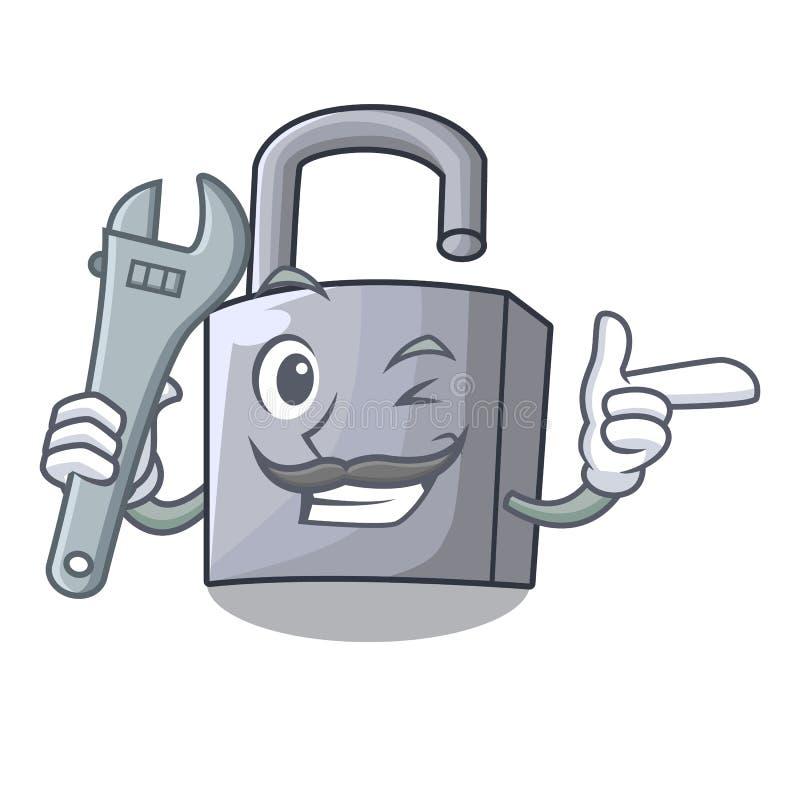 Ny metallhänglås för mekaniker som isoleras på maskot vektor illustrationer