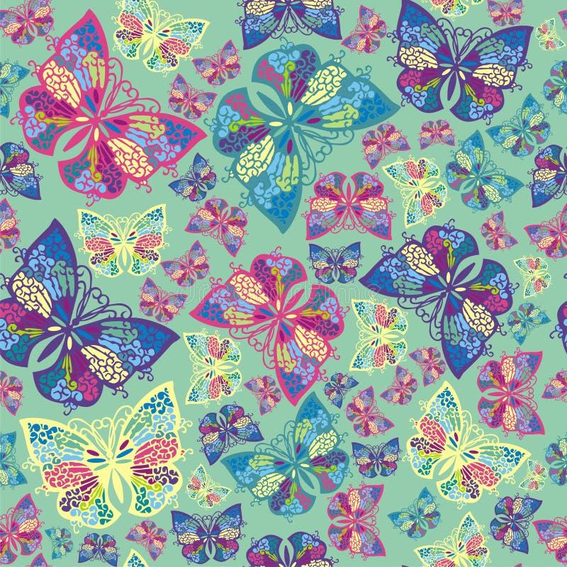 Ny modell för sömlös dekorativ fjäril vektor illustrationer