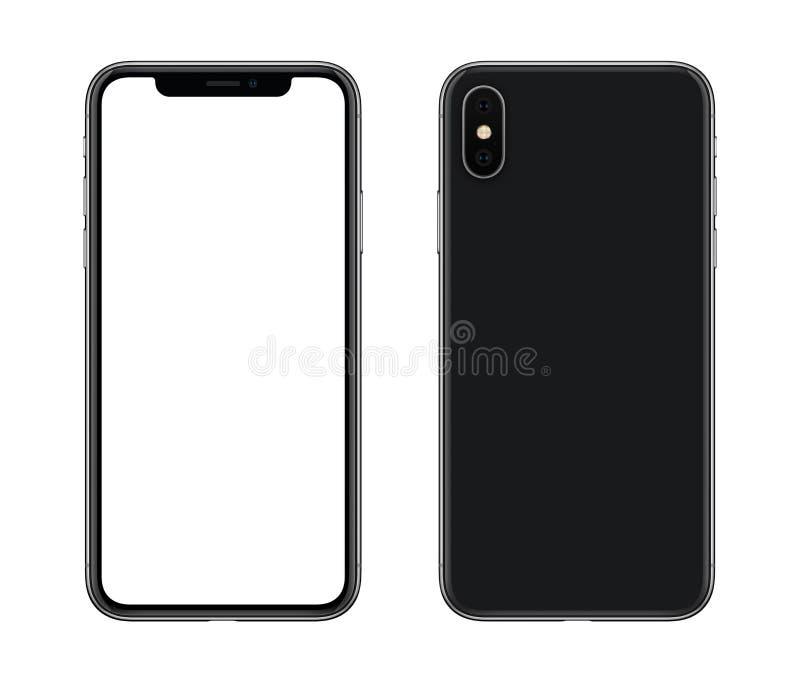 Ny modern främre smartphonemodell och tillbaka sidor som isoleras på vit bakgrund royaltyfri foto