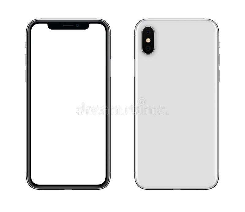 Ny modern vit främre smartphonemodell och tillbaka sidor som isoleras på vit bakgrund royaltyfri fotografi