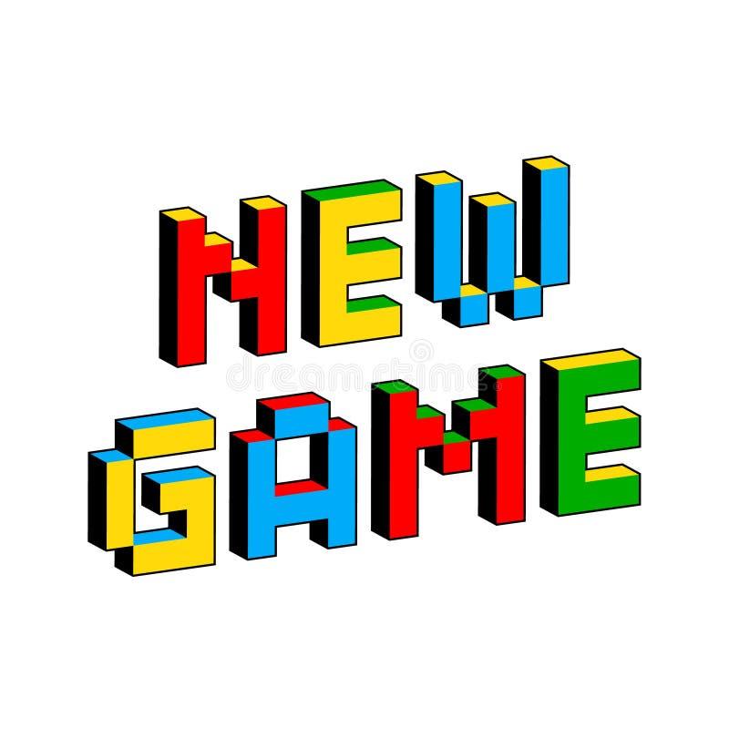Ny modig text i stil av gamla 8 bitvideospel Vibrerande färgrika bokstäver för PIXEL 3D Idérik digital vektoraffisch stock illustrationer