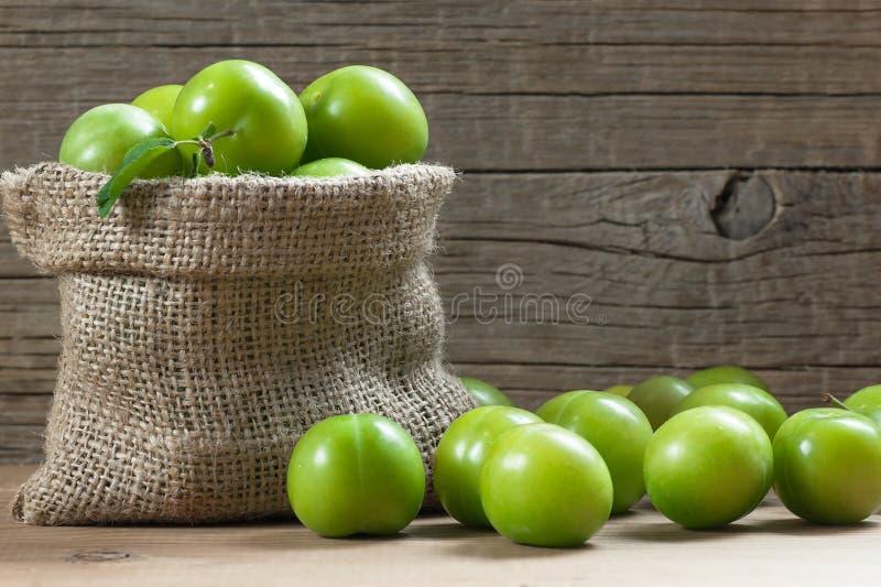 Ny mogen organisk gr?n plommoner eller renklo i s?ckv?vs?ck p? tr?bakgrund royaltyfri fotografi