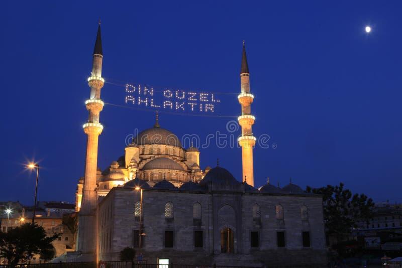 Ny moské i Ramadan i Istanbul, Turkiet arkivbild