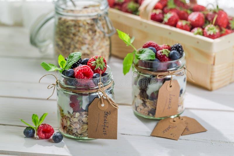 Ny mysli med yoghurt och frukter arkivfoto
