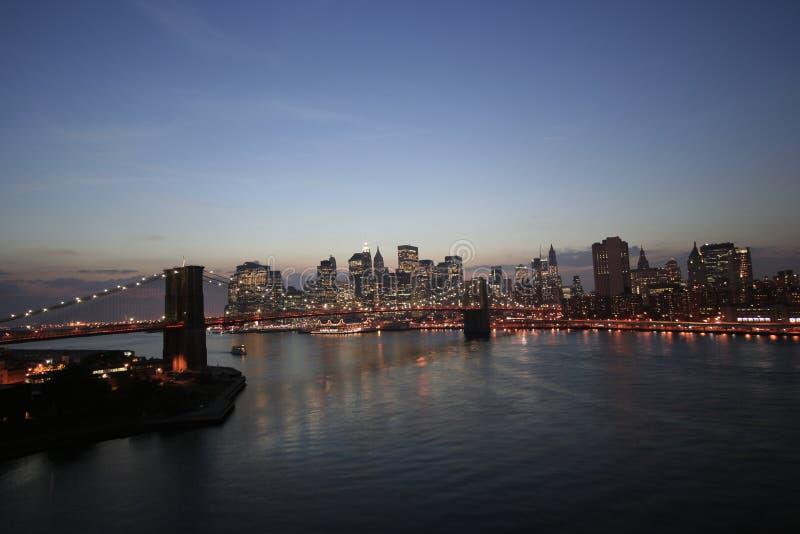 ny natthorisont york för stad royaltyfria foton