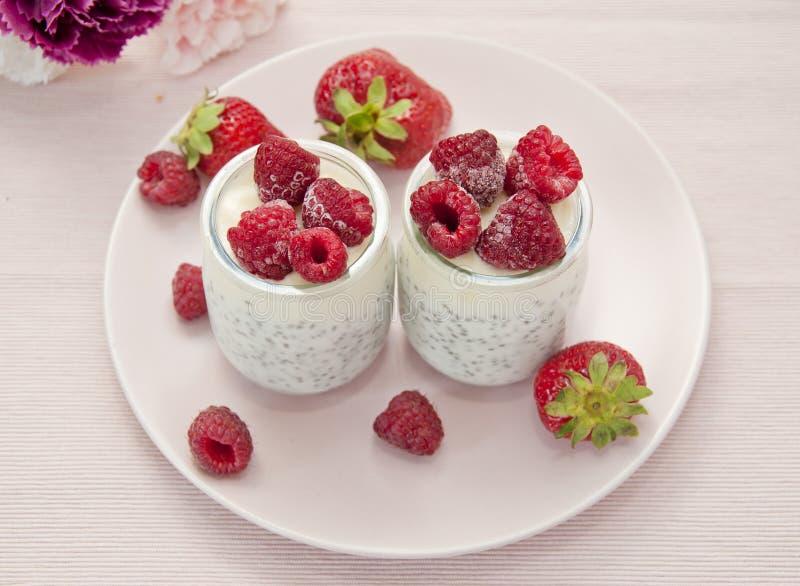 Ny naturlig yoghurt med vis manfrö dekorerade med strawberrie fotografering för bildbyråer