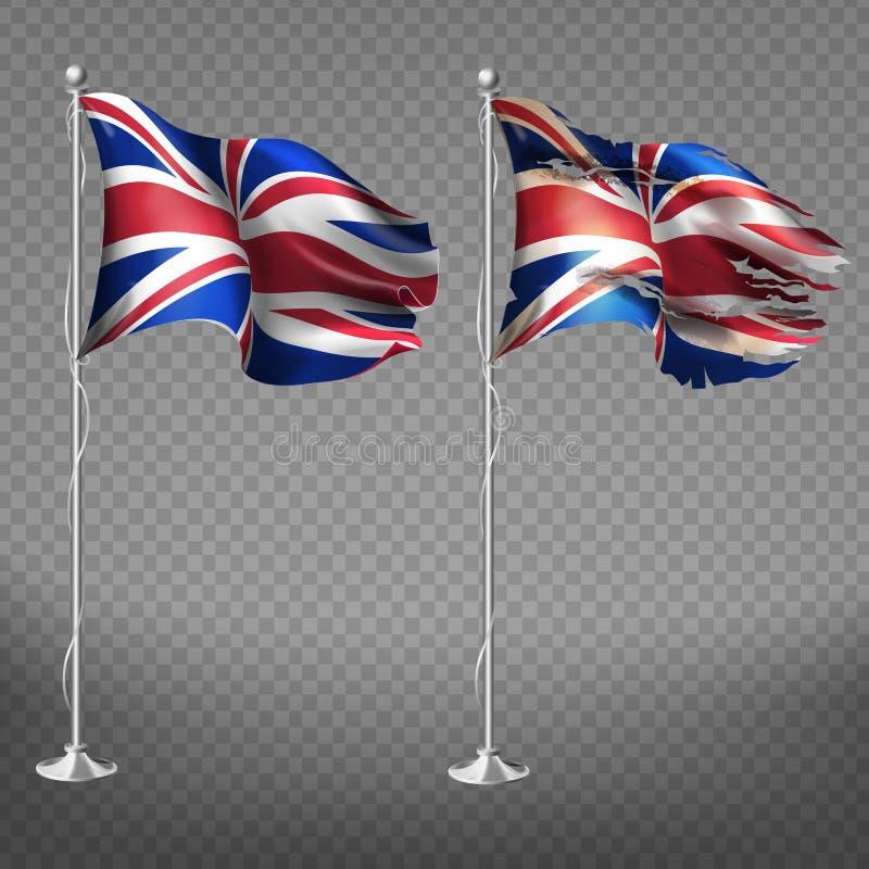 Ny och sjaskig Storbritannien flaggavektor stock illustrationer