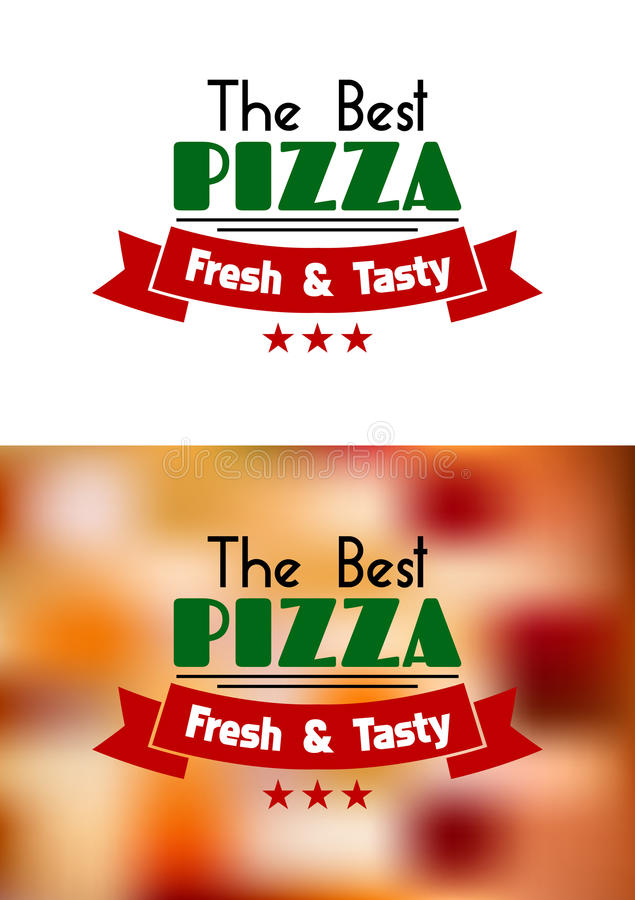 Ny och smaklig pizzaetikett stock illustrationer