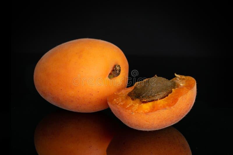 Ny orange aprikos som isoleras på svart exponeringsglas arkivfoto