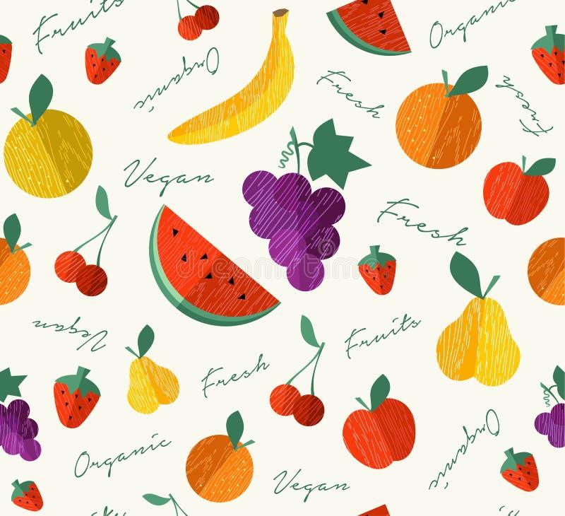 Ny organisk frukt för sömlös modell för strikt vegetarianmat stock illustrationer
