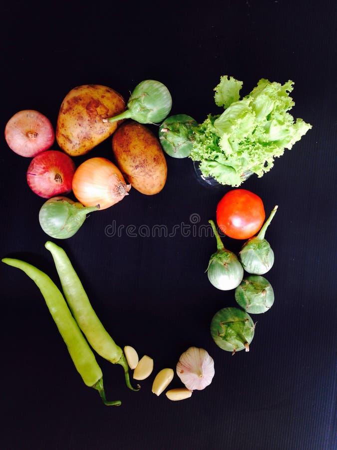 Ny organisk grönsak på svart bakgrund arkivfoto