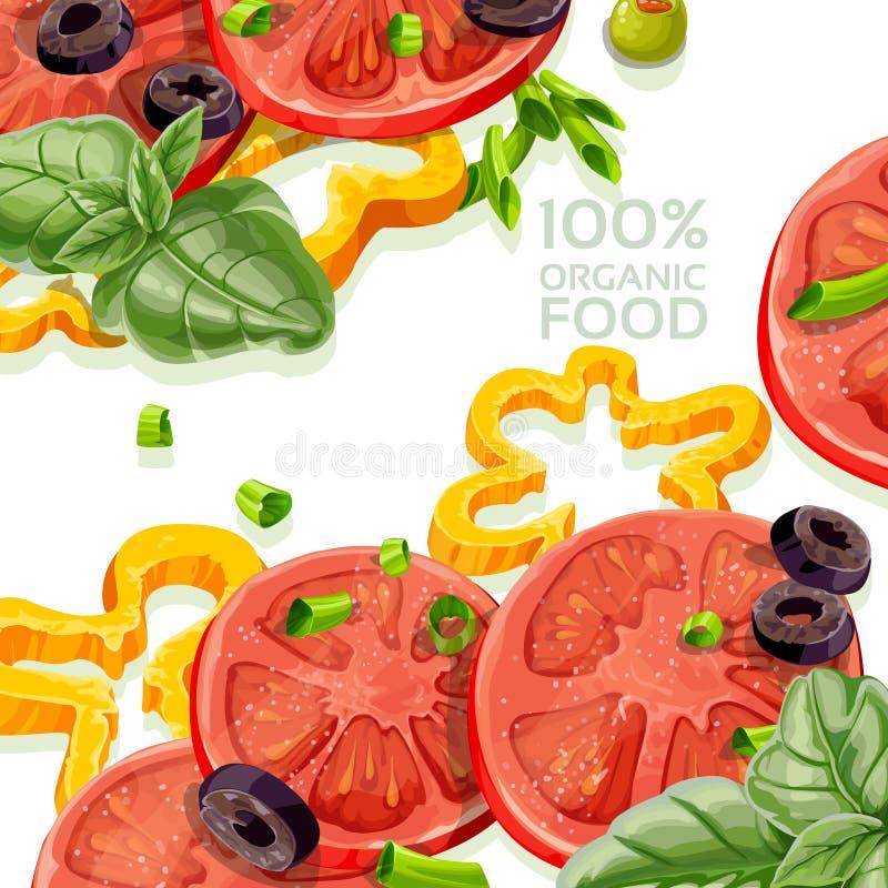 Ny organisk naturlig mat för bakgrund 100% royaltyfri illustrationer
