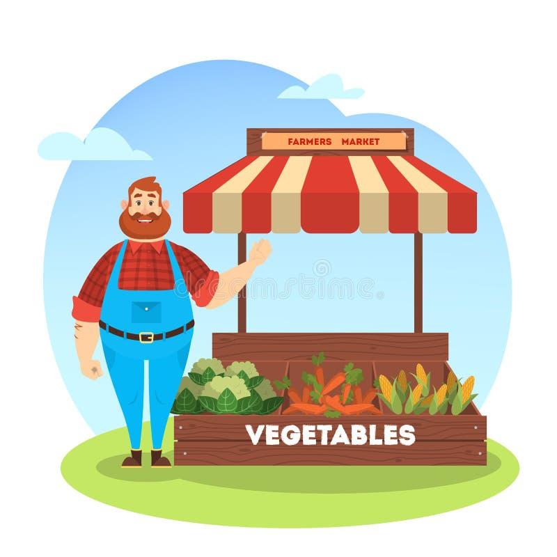 Ny organisk skörd för lycklig bondeförsäljning från lantgård vektor illustrationer