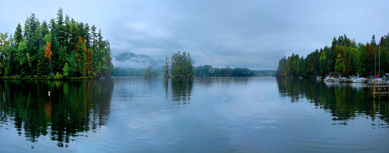 ny panorama för george lake arkivfoton