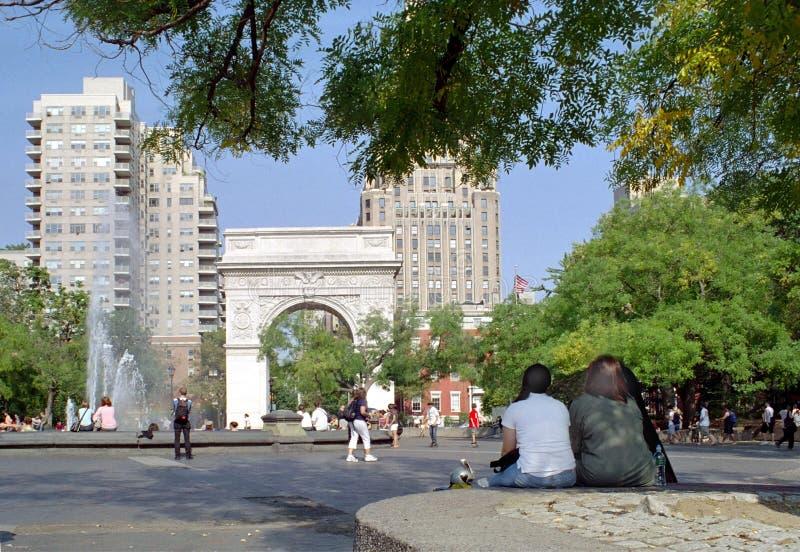 ny parkfyrkant washington york arkivfoto