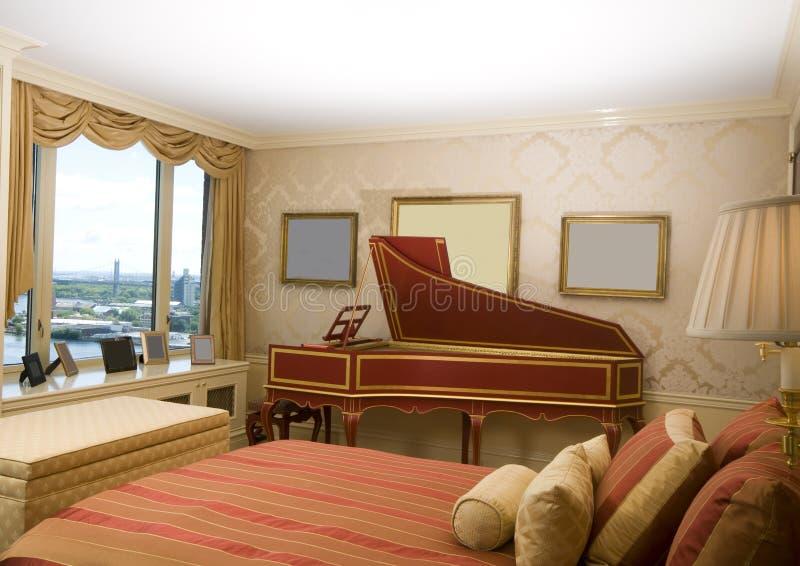 ny penthouse york för sovrumharpsichordförlage royaltyfri fotografi