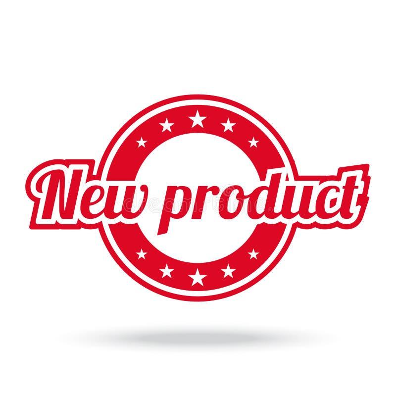 Ny produktetikett Röd färg som isoleras på vit stock illustrationer