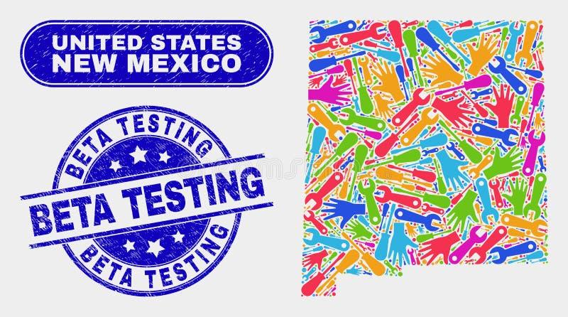Ny produktivitet - Mexiko statöversikt och Grunge Beta Testing Watermarks vektor illustrationer