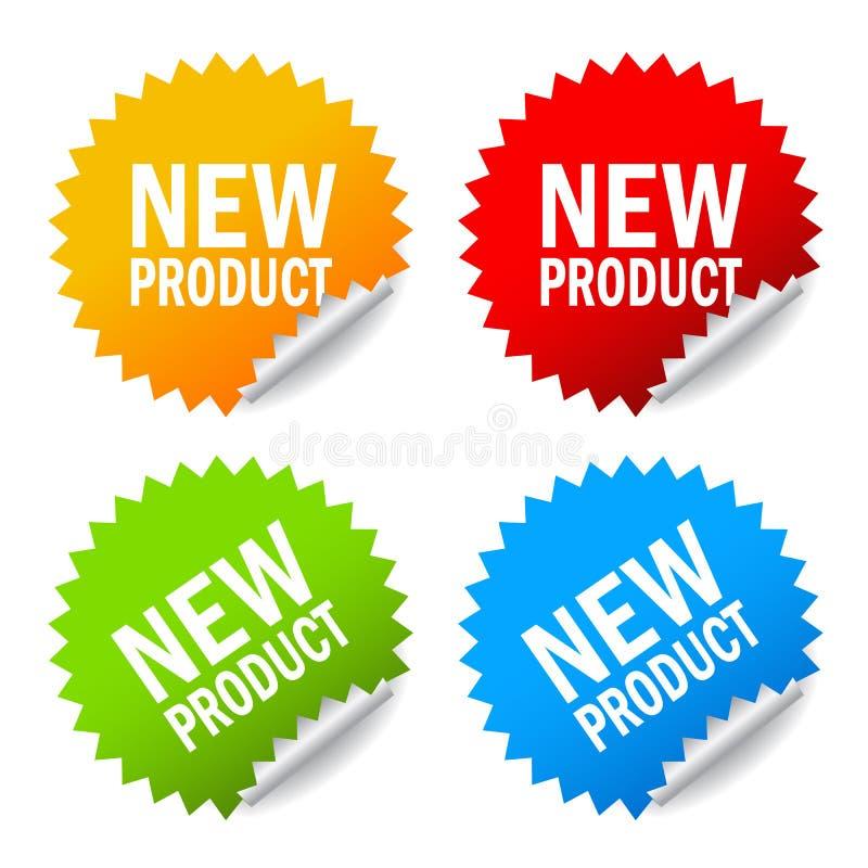 Ny produktklistermärke stock illustrationer