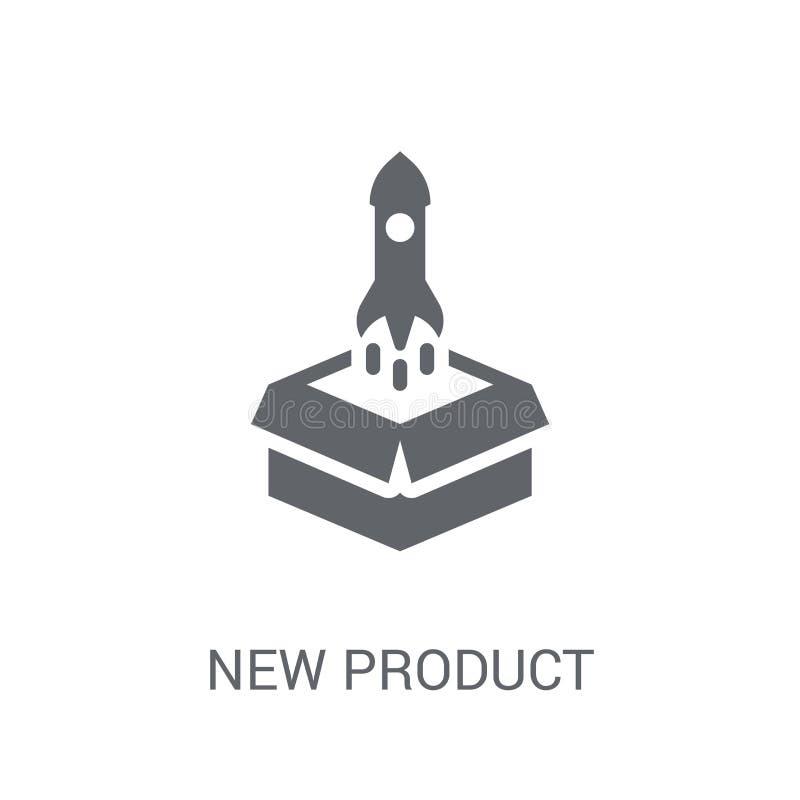 Ny produktsymbol Moderiktigt ny produktlogobegrepp på vit backg royaltyfri illustrationer